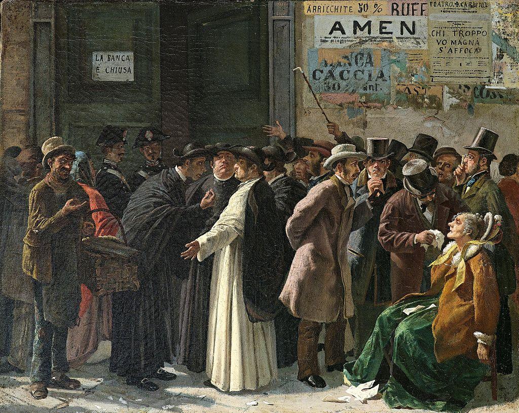 Edoardo Matania 1870, El banco Cerrado